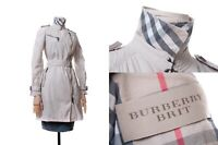 Women's BURBERRY BRIT Light Trench Jacket Beige Plaid Good Condition Size USA 6