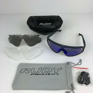 Rudy Project Defender SP5206118 Cycling Sunglasses Gray Blue Biking w Spare Lens