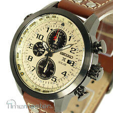 New SEIKO SOLAR PILOT CHRONOGRAPH LIGHT BROWN CALF LEATHER STRAP SSC425P1