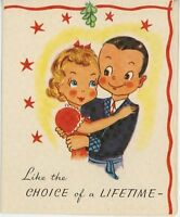 VINTAGE MISTLETOE MARRIED COUPLE TREE CUTE CHRISTMAS GREETING CARD COLOR PRINT
