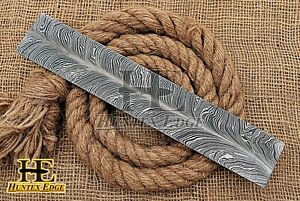 HUNTEX Forged Damascus Steel 300mm New Feather Pattern Blank Billet Knife Making