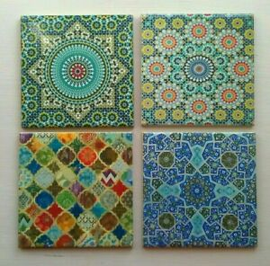 Ceramic Drink Coasters Turkish Moroccan  Set of 4 Great Designs Square Tea Cup