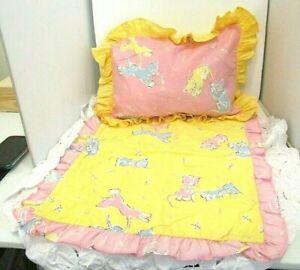 Vintage Home Made Doll Quilt & Pillow Sham Pillowcase Pink & Yellow Kittens