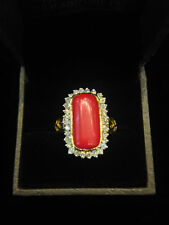 Pave 7.27 Cts Round Brilliant Cut Diamonds Coral Cocktail Ring In Solid 18K Gold