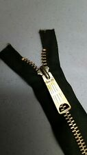 "1-ZIPPER USA Vtg""TALON BELL LONG-TAB""Jacket/Separating#5Metal BRASS 21.5"" DK.OLV"