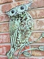 Owl on Branch Antique Mint Metal Wall Decor.