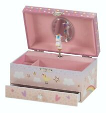 Unicorn Jewellery Box - Moving Unicorn Musical Box With Drawer & Mirror - Pink