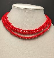 Vintage Multi Strand Red Glass Faceted Hand Knotted Bead Necklace Gorgeous!