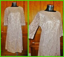 Vtg 1960s 60s Nude Champagne Lace Bell Slv Cocktail Holiday Party Shift DRESS L