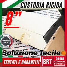 """CUSTODIA RIGIDA PROTETTIVA CASE PER TABLET 8"""" POLLICI ECOPELLE BIANCA+SUPPORTO!"""