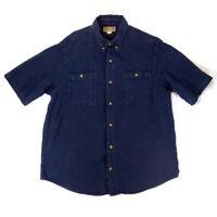 Duluth Trading Co Mens L Short Sleeve Button Down Cotton Pocket Hemp Shirt Blue