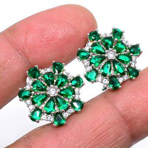 "Emerald Quartz & White Topaz 925 Sterling Silver Jewelry Earring 0.75"" T2766"