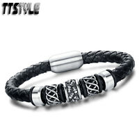 TTstyle Leather 316L S.Steel Magnet Buckle Multi Skull Bead Bracelet Wristband