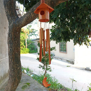 Wind Chime Outdoor Bamboo Wooden Birdhouse Wind Chimes for Outdoor Indoor