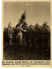 1914 * Der Kronprinz bei seinem Regiment *  Regimentsfahne *  WW1