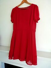 """Ladies Lovely Apricot Red Thigh Length Lined Dress Size M Pit~Pit 18"""" Vgc"""