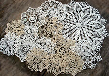 "lot of 14 Hand Crochet Doilies 5""-7""-14"" Wht & Natur VTG Wedding Tea Party NEW"