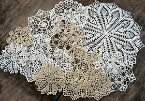 "lot of 14 Hand Crochet Doilies 5""-7""-14"" Wht & Natur VTG Wedding Tea Party NEW"