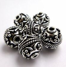 6 PCS BALI BEAD 13MM ANTIQUE STERLING SILVER PLATED OVER SOLID COPPER   #4