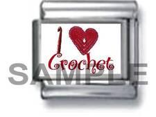 I LOVE (HEART) CROCHET 9MM ITALIAN PHOTO CHARM LINK  yarn crocheting