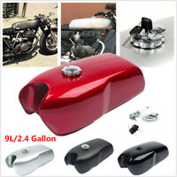 9L/2.4 Gallon Vintage Motorcycle Cafe Racer Seat Fuel Gas Tank w/ Cap Switch Key