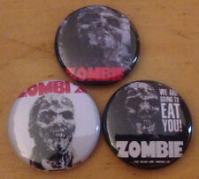 "ZOMBIE lot of 3 1"" pins pinback buttons Horror movie zombi 2 lucio fulci"