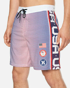 "Hurley Men's Phantom Fastlane Team USA Olympics 18"" Boardshorts"