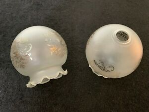Set of 2 Frosted Glass Lamp Shades Lampshades
