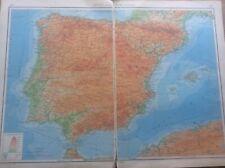 1942 Vintage John Bartholomew Atlas Map 20� Spain & Portugal