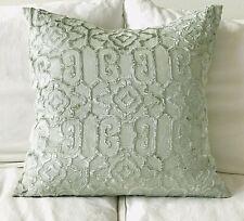 Z Gallerie Linen & Velvet Ice Blue Pillow Cover 24 x 24 EUC