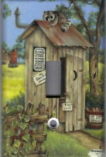OUTHOUSE WITH RACOON BATHROOM HOME DECOR SINGLE LIGHT SWITCH PLATE COVER