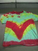 Tie Dye T-Shirt Adult M V neck Short Sleeve Handmade 100% Cotton Free Shipping
