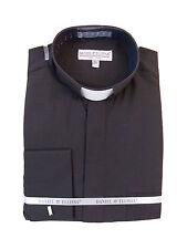 Men's Clergy Tab Collar Long Sleeve Dress Shirt Black Frenchcuff Pastor Preacher