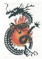 Chinese Dragon Temporary Tattoo black orange