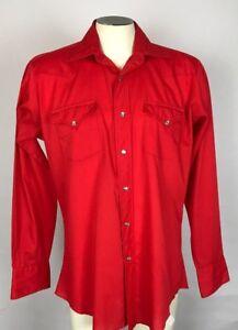 Vintage H BAR C California Ranchwear Pearl Button Snap Shirt Solid Red
