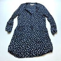 Loft Sz MP Blue Spot Print Shirt Dress A2141