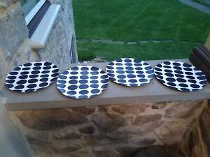 Marimekko 4 Dinner Plates Melamine   Black & White Retro 10.5 inch
