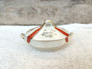 Antique Noritake Pottery Floral Design Hand Painted Ceramic Sugar Bowl With Lid