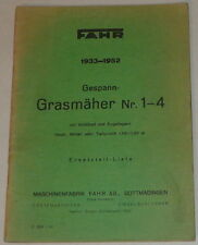 Teilekatalog Fahr Gespann-Grasmäher Nr. 1-4 von 1933-1952