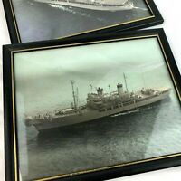 lot of 2 Vintage navy ship pictures 8.75 x 10.75 under glass woolworth