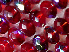 VTG 50 RED IRIS FACETED DONUT GLASS BEADS 6X9mm # 050715c