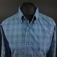Timberland Mens Vintage Shirt 2XL Long Sleeve Blue Regular Fit Check Cotton