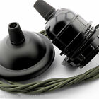 E27 VINTAGE de Estilo Negro Mate colgante techo Kit con a elegir color FLEX