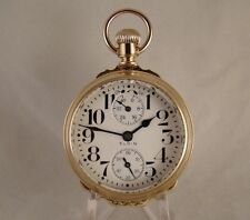 ELGIN VERITAS 23j UP/D'N WIND INDICATOR 14k GF BOX HINGE OF 16s RR POCKET WATCH