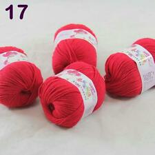 4balls  50g Cashmere Silk Wool Children hand knitting Baby Yarn Hot Red 18_17