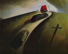 Grant Wood Death On The Ridge Road Canvas Print 16 x 20   #3542