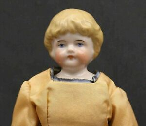 VERY  NICE  ANTIQUE  GERMAN  CHINA  DOLL - BLONDE HAIR & PEACH COLOR DRESS
