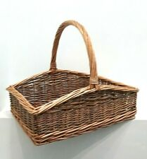 Wicker Two Tone Country Large Trug Garden Basket With Handle