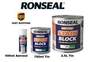 Ronseal One Coat Stain Block White Basecoat - 400ml Aerosol - 750ml - 2.5L