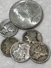 1 Dollar Of 90% Junk Silver 1- 1964 Kennedy  Half 5 Mercury Dimes Constitutional
